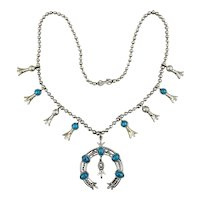 Vintage Signed ART Squash Blossom Necklace Faux Silver / Turquoise