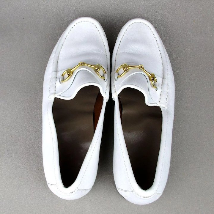 bf3efca4c770e Vintage Mens GUCCI White Leather Horsebit Loafers Dress Shoes Italy