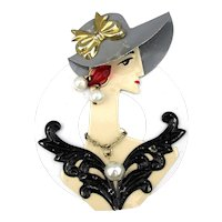 Flamboyant Femme Handmade Vintage Pin Big Hat & Jewels