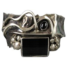 Modernist Sterling Silver Black Onyx Cuff Bracelet Brutalist Abstract