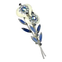 Vintage Enamel Rhinestone Double Flower Pin Brooch