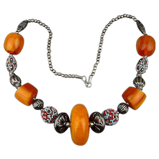 Bohemian Faux Amber Bead Necklace - Bold Ethnic Vintage