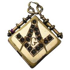 Victorian Gilded Masonic Locket Pendant w/ Jeweled Symbol