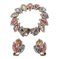 Gorgeous Vintage Glitzy Set - Bracelet & Earrings - Pastel AB Crystal Rhinestones