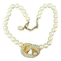 Vintage Givenchy Faux Pearl Necklace w/ Rhinestone Pretzel