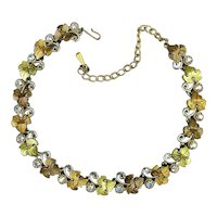 Pretty Vintage Necklace - 2-Tone Gilt Leaves w/ Aurora Borealis Crystal