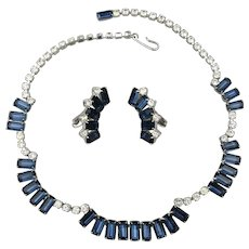 Vintage Faux Diamonds & Sapphires Rhinestone Necklace - Earrings