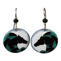 Modernist Enamel Earrings - Stylized Horse