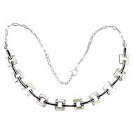 Vintage Sterling Silver Necklace w/ MOP & Enamel Links