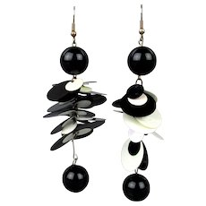 Vintage MOD 1960s Plastic Dangle Earrings Black & White - Red Tag Sale Item