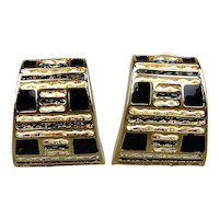 Vintage Signed St. John Clip Earrings Black White Enamel on Goldtone