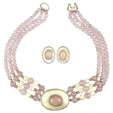 Vintage Rose Quartz - Mother-of-Pearl Bead Necklace Earrings Set