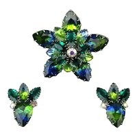 Vintage Juliana Rhinestone Star Pin Brooch Earrings Set Blue / Green