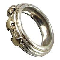 Vintage 14K Gold Stars Sterling Silver Ring