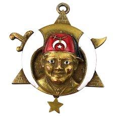 Rare Victorian Shriner Face Masonic Enamel Bronze Pendant Fob