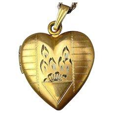 Old Gold-Filled Etched Heart Locket Necklace