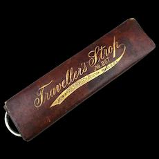 Victorian TRAVELLER'S STROP Straight Razor Shaving Strop for Travel in Case