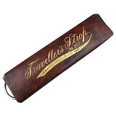 Victorian TRAVELLER'S STROP Straight Razor Shaving Strop for Travel in Case