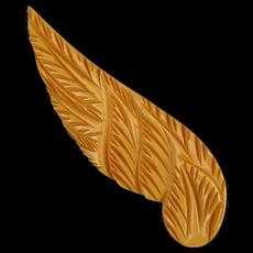 Vintage Very Carved Bakelite Winged Pin Brooch