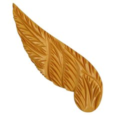 Vintage Very Carved Bakelite Winged Pin Brooch