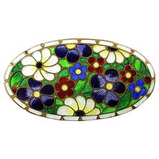 Old Victorian Guilloche Enamel Pin - Gorgeous Colorful Flowers