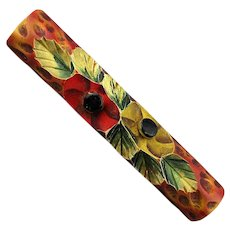Old Hand Carved Painted Celluloid Pin 1930s Foliate Bar