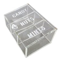 1960s Lucite CANDY - NUTS - MINTS Display Box - Storage Serving