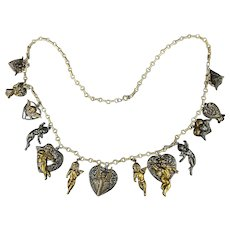 Vintage Stamped Brass / Silvertone Charms Necklace Cupids Hearts Angels Puttis