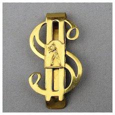 Vintage Baseball Player Dollar Sign Money Clip
