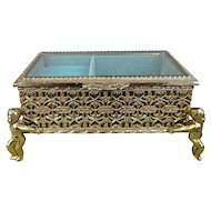 Vintage Gold Ormolu Beveled Glass Jewelry Trinket Music Box w/ Cherub Legs