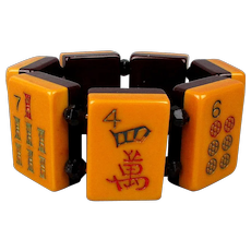 Vintage Bakelite Two-Tone Mah Jong Stretch Bracelet