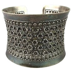 Old Ethnic 925 Sterling Silver Cuff Bracelet Yemen Tribal Wide Ornate Work