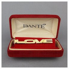 1960s DANTE ~ LOVE ~ Tie Clasp Tie Clip in Original Box