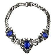 Antique Victorian Necklace Blue Glass Festoon Gunmetal Chain