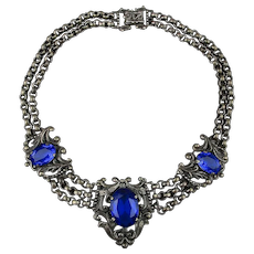 Antique Victorian Necklace Blue Glass Festoon Gunmetal Chain