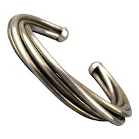 Modernist 5 Band Solid Sterling Silver Cuff Bracelet
