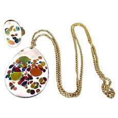 Jeweled Enamel on Copper Set Pendant Necklace - Ring Abstract Art