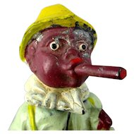 Vintage Black Americana Painted Metal Nodder Man w/ Big Cigar