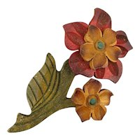 Big 1930s Carved Tinted Wood Flower Pin