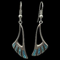 Silver Cloud Sterling Silver Turquoise Chip Inlay Earrings Angled Dangles
