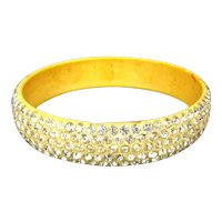 Art Deco Celluloid Bangle Bracelet 5 Rows of Brilliant Rhinestones