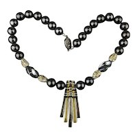 Heavy Sterling Silver Hematite Bead Necklace w/ Huaca Rod Dangles