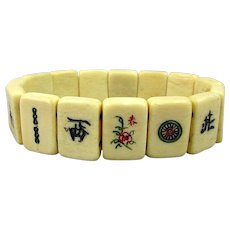 Old Carved Bone Mini Mah Jong Tile Stretch Bracelet