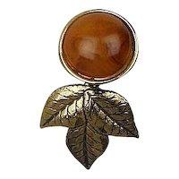 Vintage Bakelite Gold Leaf Earrings