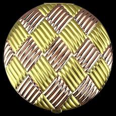Vintage EVANS Gold/Copper Tone Basket Weave Compact - Big 5 Inch Beauty Box