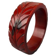 Rust Red Carved Bakelite Bangle Bracelet Overdyed Painted 1930s