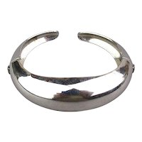Art Deco CORO Pegasus Hinged Cuff Bracelet Sleek Chrome