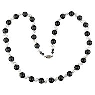 Vintage Black Onyx Bead Necklace w/ Sideways Freshwater Pearls