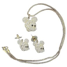 Vintage Mickey Mouse Rhinestone Pendant Necklace - Earrings Set