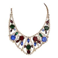 Vintage Multi-Color Rhinestone Collar Necklace 1950s Hollywood